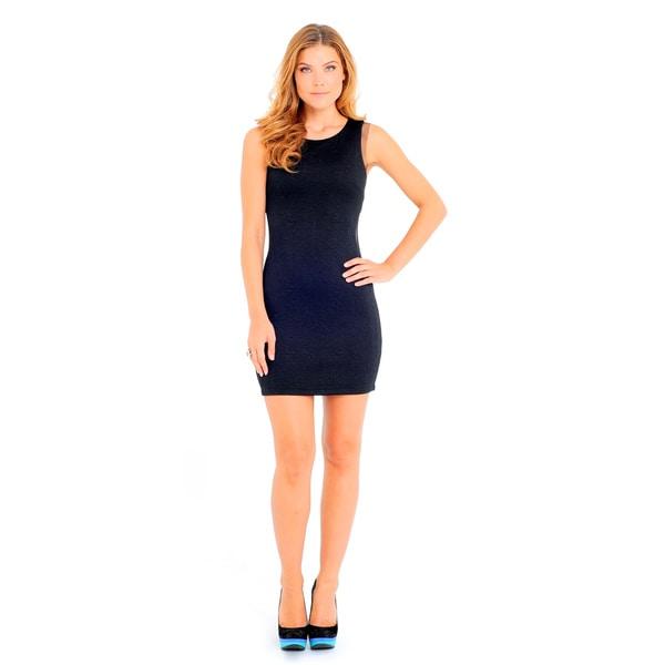 Sara Boo Women's Black/White Mesh-Side Bodycon Sheath Dress