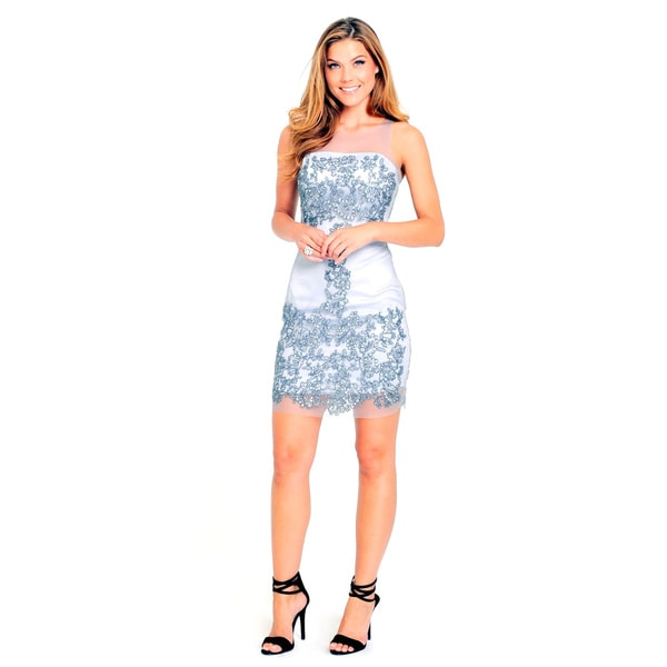 Sara Boo Women's Grey Polyester/Spandex Sheer Sequin Shift Dress