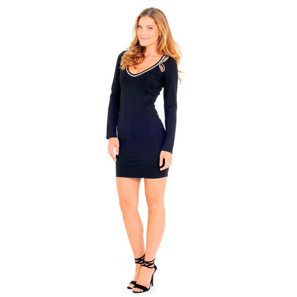 Sara Boo Women's Black Cotton Blend Bodycon Dress
