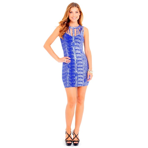 Sara Boo Women's Blue Polyester Shimmery Bodycon Dress