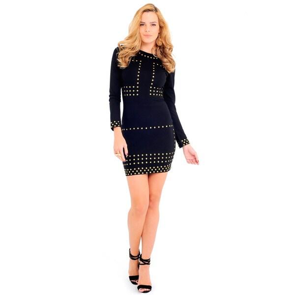 Sara Boo Women's Black/Wine Cotton/Nylon Embellished Shift Dress