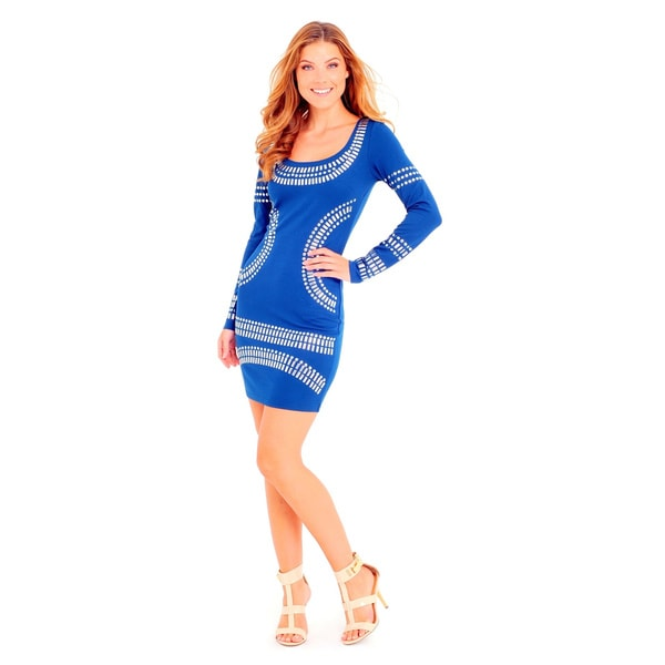 Sara Boo Women's Blue and White Studded Fitted Dress