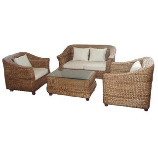 Beige and Brown Wood Captivating Seagrass Sofa Set With Coffee Table (Pack of Four)