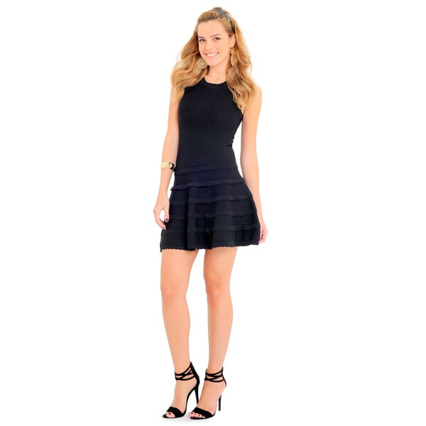 Sara Boo Women's Blue/Red/Black Polyester Ruffle Skater Dress 19278334