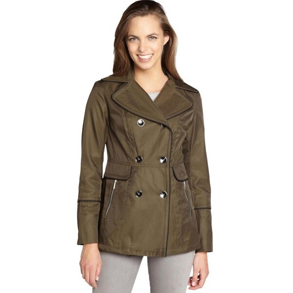 Laundry by Design Women's Olive Green Cotton and Polyester Trench Coat (Size Small)