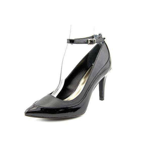 Alfani Women's Ainslee Black Patent Leather Ankle Strap Pumps