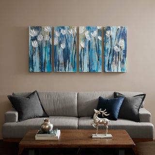 INK+IVY 4-panel Ocean Breeze Blossom Blue Gel Coat Printed On Canvas