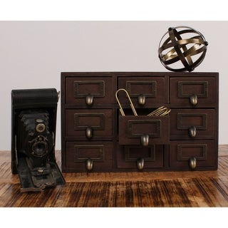 Apothecary Black/Brown Wood/Glass 7.5-inch x 12-inch x 4-inch Desktop Rustic Drawer Set