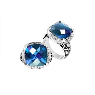 Handcrafted Sterling Silver Blue Topaz with Cubic Zirconia Bali Ring (Indonesia)