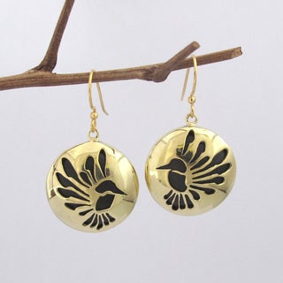 Spirit Tribal Fusion Golden Bird Earrings (Bali)
