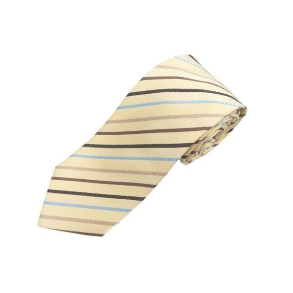 Verno Butter Yellow Textured Multi-stripe Handmade Silk Tie