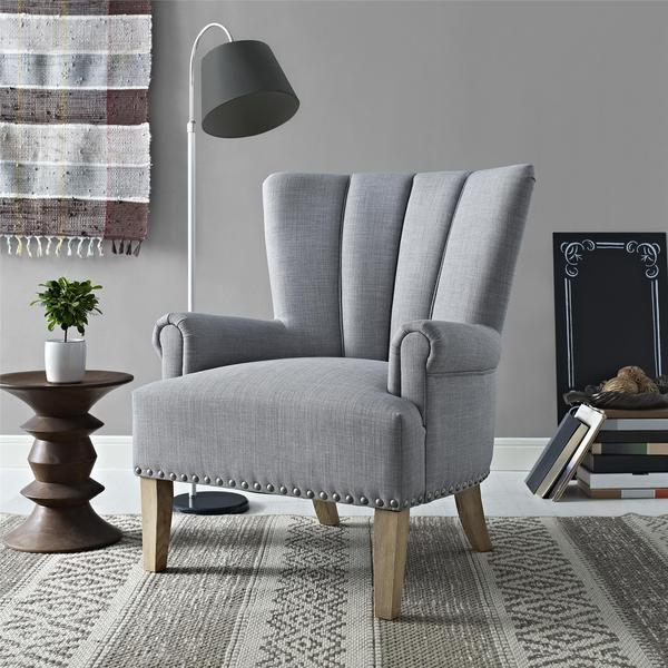 Avenue Greene Milo Grey Accent Chair