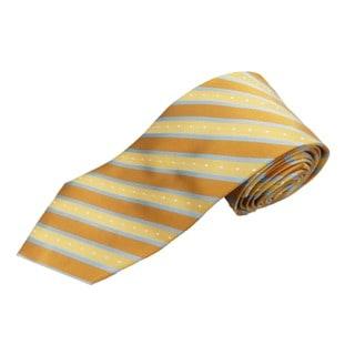 Verno Men's Copper/Silvertone Silk Stripe Handmade Tie