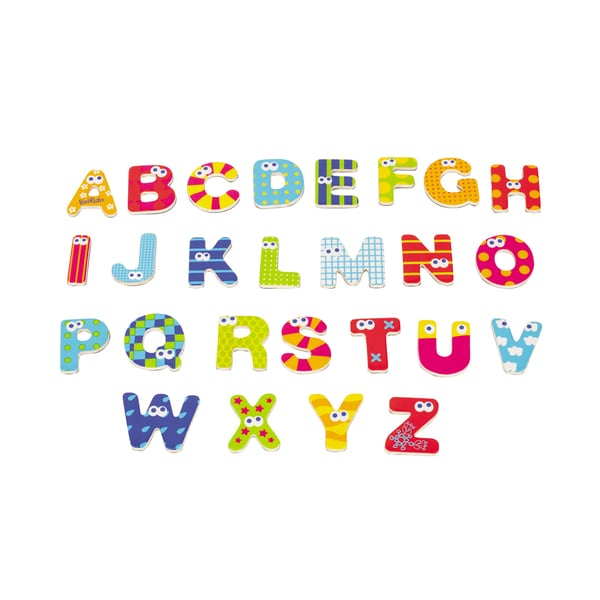 Wooden Magnetic Capital Letters 59 Piece Set