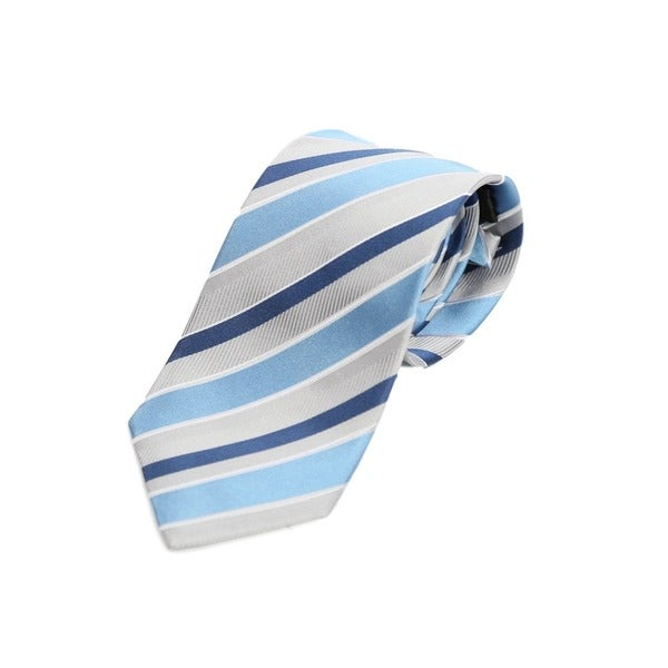 Verno Blue/Grey Stripe Handmade Silk Tie