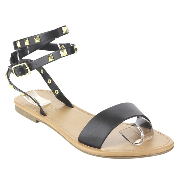 CityClassified Women's Tan/Black Faux Leather Flat Sandals