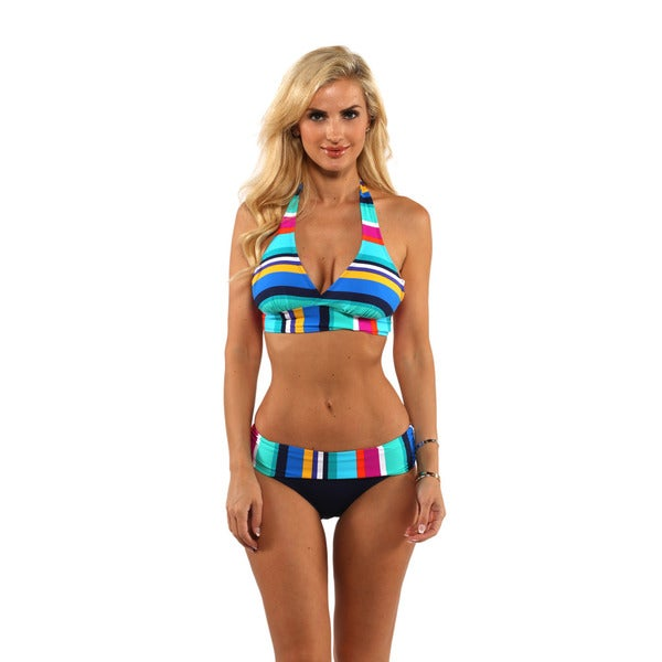 Anne Cole Rugby Stripe Halter Top with Fold Over Bikini Bottom