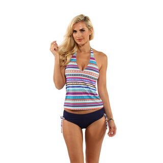 Anne Cole Central Stripe Tankini Top with Adjustable Hipster Bottom