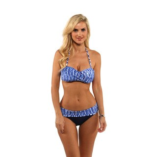 Anne Cole Indigo Tide Twist Bandeau Bikini Top with Fold Over Bikini Bottom