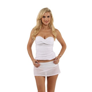 Anne Cole Crochet Twist Underwire Bandeaukini Swim Top with Crochet Skirted Swim Bottom