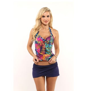 Anne Cole Paradise Palm Twist Underwire Tankini Top with Sarong Swim Skirt Bottom