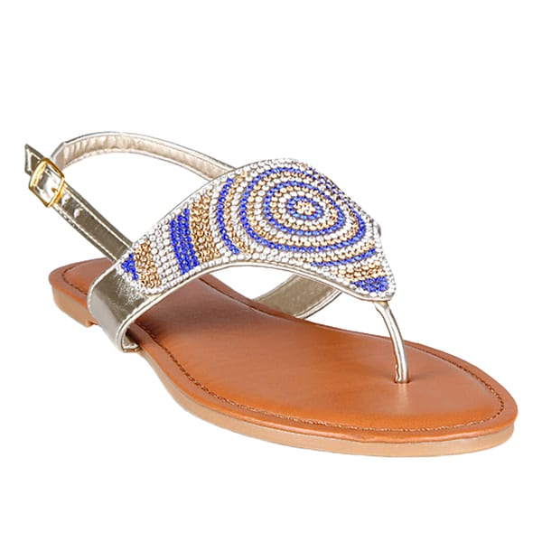 Hotsoles Women's Gold, Silver Faux-leather Rhinestone Flat Sandals