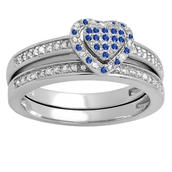 Sterling Silver 1/4-carat Round Sapphire and White Diamond Heart-shaped Bridal Engagement Ring Set