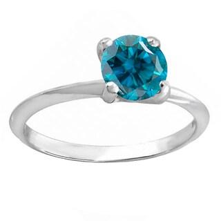 14k White Gold 1-carat TDW Round Blue Diamond Women's Bridal Engagement Solitaire Ring