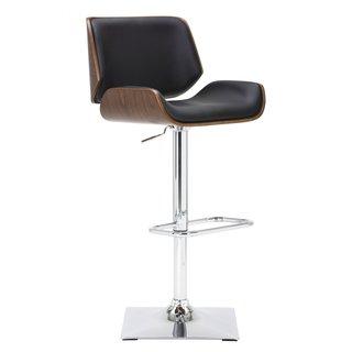 Kinley Black, White Metal, Wood Adjustable Barstool