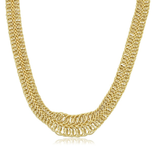 Fremada Italian 14k Yellow Gold Two-Row Graduated Round Link Necklace (18 inches)