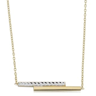Fremada 10k Two-tone Gold Double Bar Adjustable Length Necklace