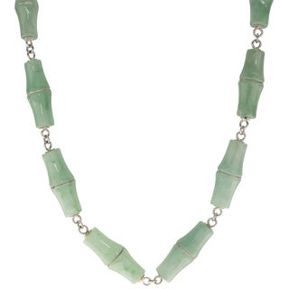 Gems For You Sterling Silver Jade Necklace