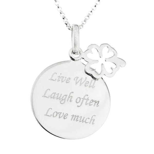White Sterling Silver Message Disc and Clover Charm Pendant on 16-inch Micro Belcher Chain