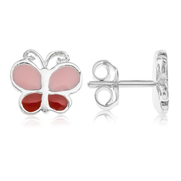 White Sterling Silver Red and Pink Enamel Butterfly Stud Earrings