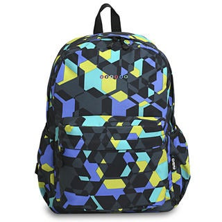 J World OZ Cubes Multicolored Polyester Campus Backpack