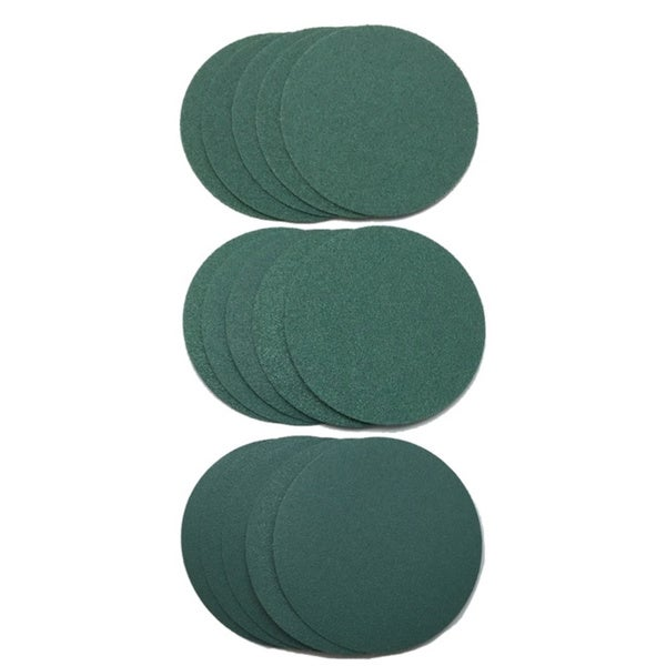 World Abrasive 3-inch No Hole Film, Hook-and-loop, 80/ 120/ 180 Grit 15-disc Variety Pack
