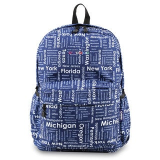 J World OZ Road Trip Blue/White Polyester Campus Backpack