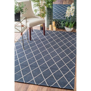 nuLOOM Modern Diamond Lattice Navy Rug (8'6 x 11'6)