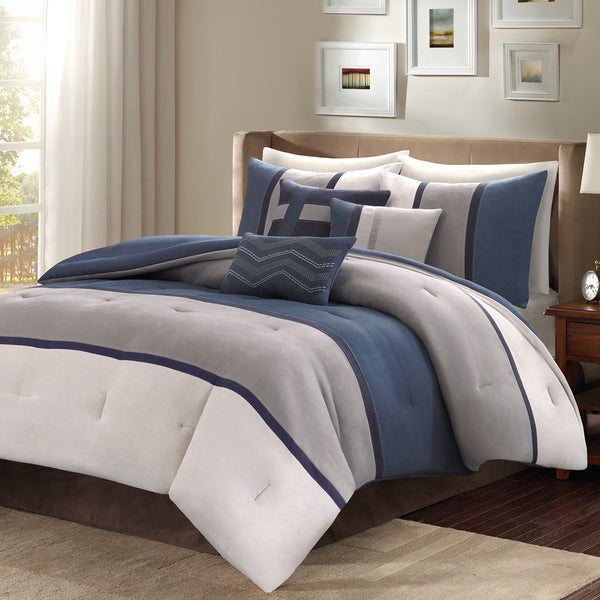 Madison Park Warner 7-Piece Queen Size Comforter Set in Blue (As Is Item)