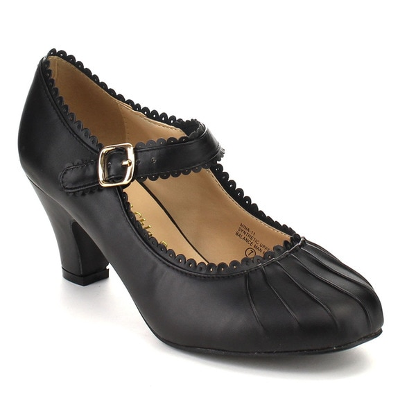 Beston CC03 Women's Black Faux Leather Ruched Round Toe Mary Jane Pumps 19284848