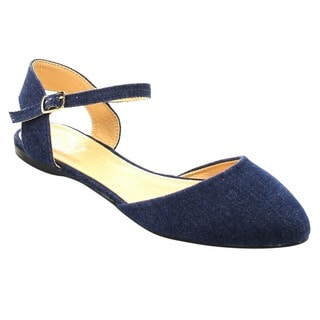 Betani FC10 Women's Plain Fabric Buckle Ankle Strap D'Orsay Ballet Flats