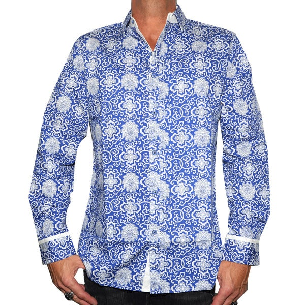 Rock Roll N Soul Men's 'OUT OF THE BLUE' Blue Cotton Woven Shirt