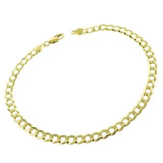 14k Gold 4.5mm Solid Cuban Curb Link Bracelet