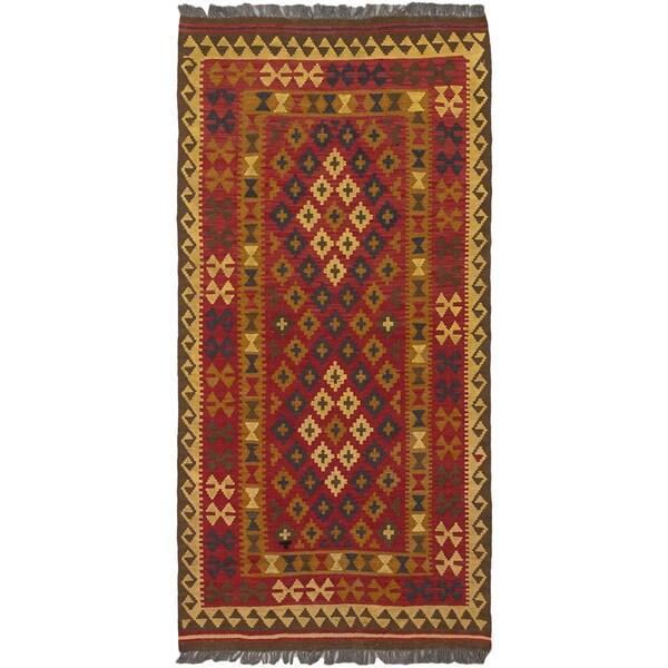 Ecarpetgallery Kashkoli Red/Navy/Brown/Camel/Light Gold Hand-Woven Wool Rug (3' 2 x 6' 5)