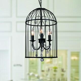 Emberlee Black Acrylic, Metal 3-light Cage Chandelier