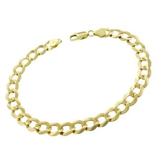 14k Gold 8mm Solid Cuban Curb Link Bracelet