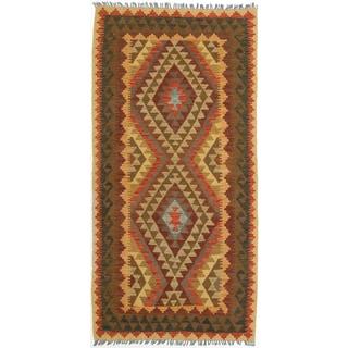 eCarpetGallery Hand-woven Anatolian Kilim Brown/Red Wool Rug (3'2 x 6'5)