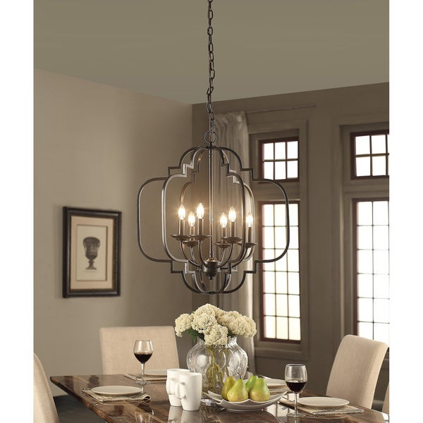 Moroccan Six Light Dark Bronze Chandelier Free Shipping