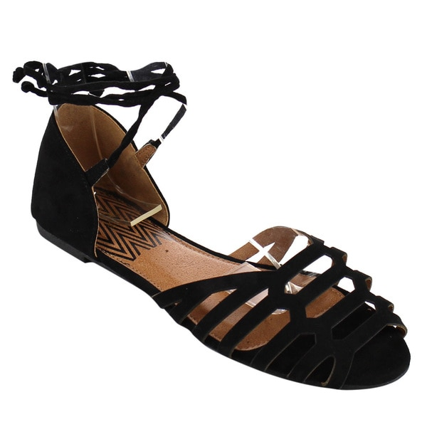 QUPID Women's D'Orsay Black Faux Suede Gladiator Flat Sandals