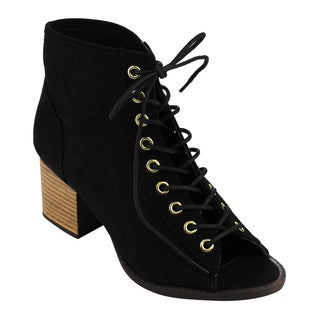 Qupid Women's Black Faux Suede Perforated Lace-up Stacked Block Heel Ankle Bootie